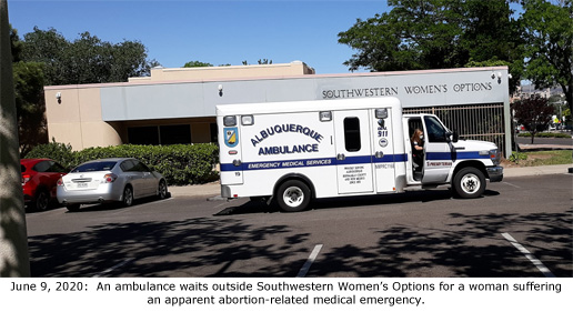 This image has an empty alt attribute; its file name is ambulance-in-front-of-SWO-6-9-2020-cap.jpg